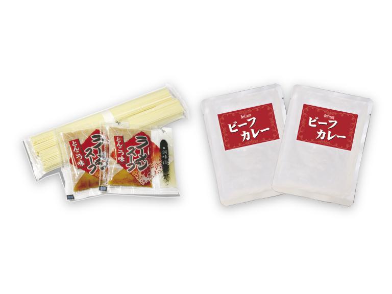 パッケージ内容: 乾麺+とんこつ味ラーメンスープ+調味油 + レトルトカレー